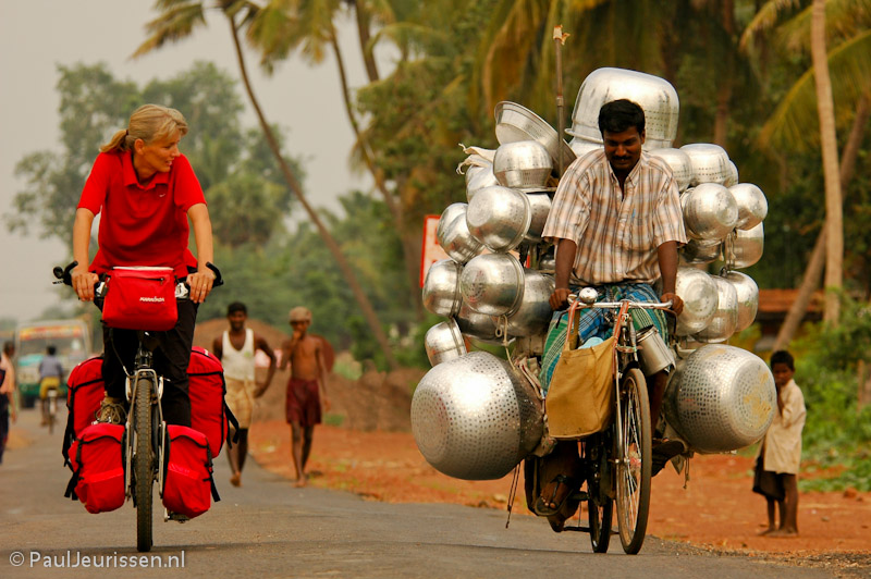 Bicycling in India.