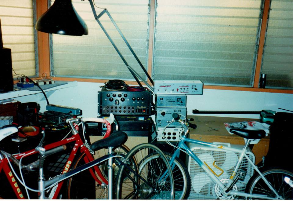 Allan Holdsworth's home studio with bicycles.